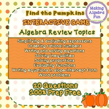 Thanksgiving Halloween Fall Find the Pumpkins Game Algebra Review Topics