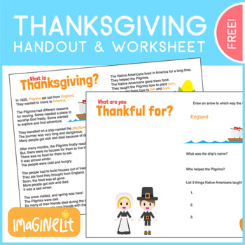 Thanksgiving Handout and Worksheet