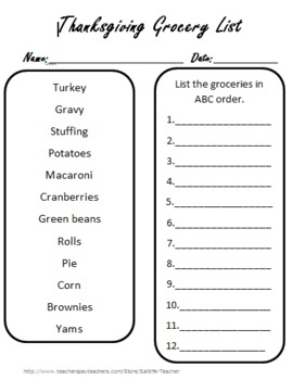Thanksgiving Handouts and Activities
