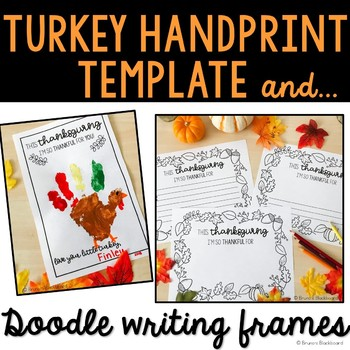 Thanksgiving Handprint Template & Differentiated Doodle Writing Frames