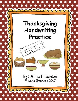 Thanksgiving Handwriting Practice A - Z