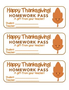 """Thanksgiving"" Happy Leaf 1 - Homework Pass –Holiday FUN!"