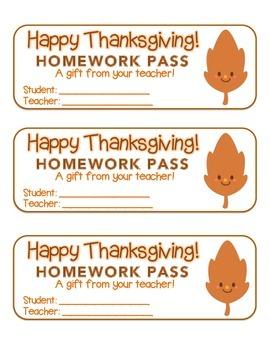 """Thanksgiving"" Happy Leaf 1 - Homework Pass – Holiday FUN!"