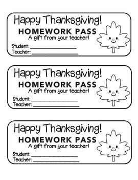 """Thanksgiving"" Happy Leaf 2 - Homework Pass –Holiday FUN! (black line version)"