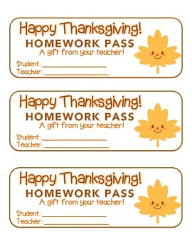 """Thanksgiving"" Happy Leaf 2 - Homework Pass – Holiday FUN! (full color version)"
