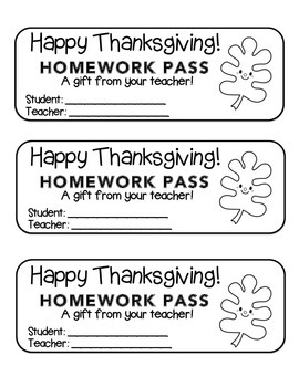 """Thanksgiving"" Happy Leaf 3 - Homework Pass –Holiday FUN! (black line version)"