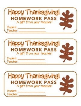 """Thanksgiving"" Happy Leaf 3 - Homework Pass – Holiday FUN! (full color version)"