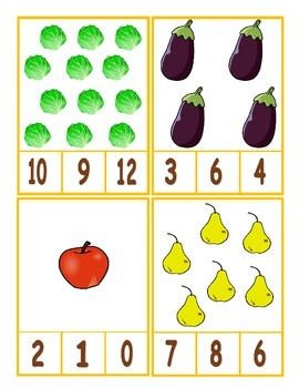 **FREE** Thanksgiving Harvest Counting Clip Cards 1-20