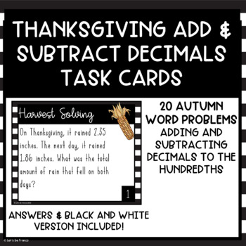 Thanksgiving Harvest Themed Add and Subtract Decimals Task Cards