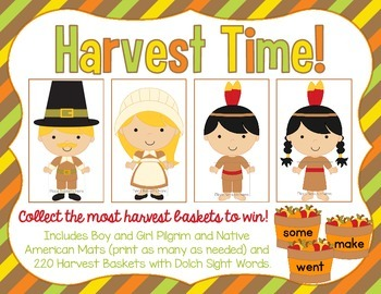 Thanksgiving Harvest Time - A Dolch Sight Words Card Game (220 Dolch Words)
