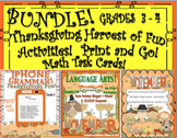 Thanksgiving Harvest of Fun Bundle! Printables! Task cards! Activities!