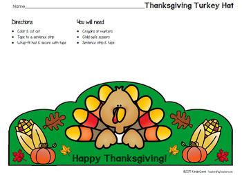Thanksgiving Hat ~ Fun Stuff ~ PreK Kindergarten 1st & 2nd Grades