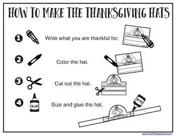 Thanksgiving Hats - Write, Color, Cut and Glue