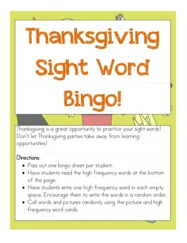 Thanksgiving High Frequency Word Bingo