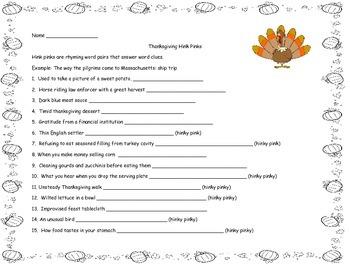 Thanksgiving Hink Pinks Vocabulary Riddles