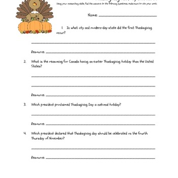 Thanksgiving History - A Research Activity