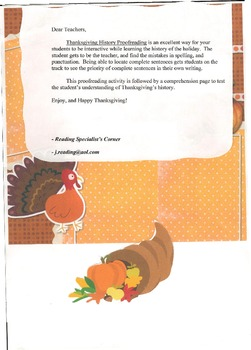Thanksgiving History Proofreading