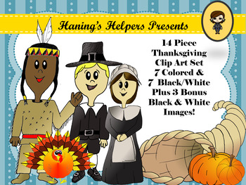 Thanksgiving Holiday Clip Art Pilgrims Pumpkins Turkey Feather Cornucopia Native