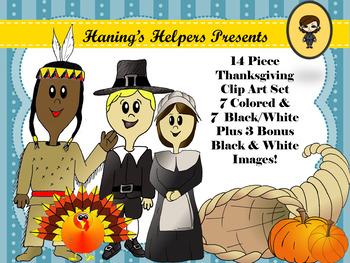 Thanksgiving Holiday Clip Art Pilgrims Pumpkins Turkey Feather Cornucopia Native