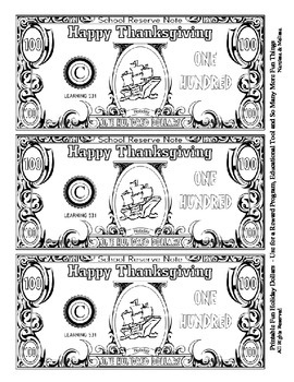 Thanksgiving Holiday Dollars - Teach Money, Use for Rewards, Support Centers