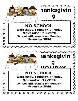 Thanksgiving Holiday Reminder