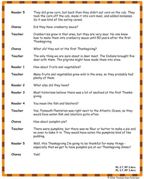 Thanksgiving Readers Theater Script, Reading & Activity Packet