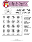 Thanksgiving Holiday Word Search: Pomodoro Penguin Worksheet Wednesday No. 9