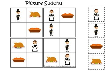 Thanksgiving Holiday themed Picture Sudoku preschool learning game.  Daycare gam
