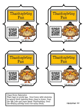 Thanksgiving Homework Fun using QR Codes (School to Home Connections)