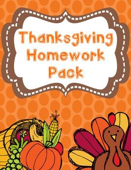 Thanksgiving Homework Pack