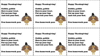 Thanksgiving Homework Pass