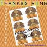 Thanksgiving Homework Pass
