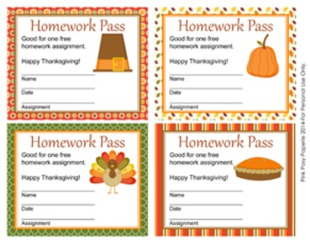 Thanksgiving Homework Passes