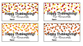 Thanksgiving Homework Passes