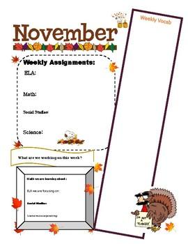 Thanksgiving Homework Sheet