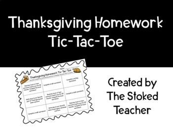 Thanksgiving Homework Tic-Tac-Toe