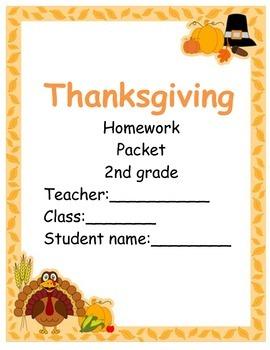 Thanksgiving Homework packect 2nd grade