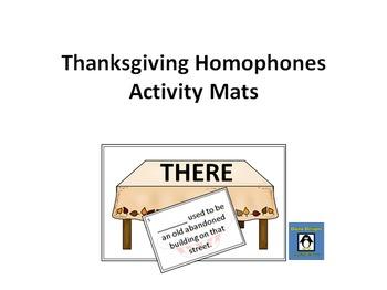 Thanksgiving Homophone Activity Mats