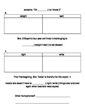 Thanksgiving Homophone Practice