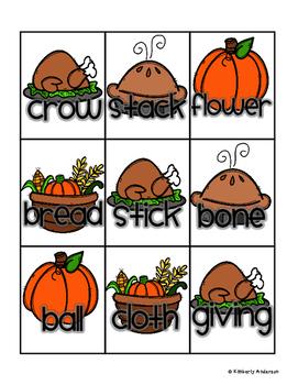 Thanksgiving Homophones Match