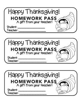 """Thanksgiving"" Horn of Plenty - Homework Pass –Holiday FUN! (black line version)"