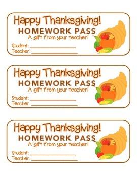 """Thanksgiving"" Horn of Plenty - Homework Pass – Holiday FUN! (full color)"