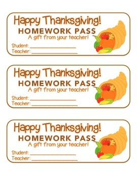 """Thanksgiving"" Horn of Plenty - Homework Pass – Holiday FUN! (full color)"