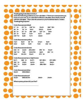 Thanksgiving Hundreds Chart Mystery Calculator Activity