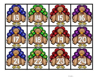 Thanksgiving Hundreds Chart Number Cards