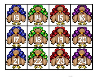 Thanksgiving Hundreds Chart Number Cards