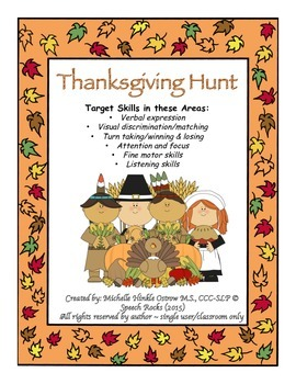 Thanksgiving Hunt (oral Expression,Matching,Visual Discrim)