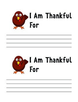 Thanksgiving - I AM THANKFUL FOR Activity