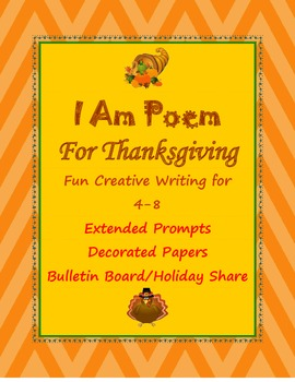Thanksgiving I Am Poem 4-8 Canada or U.S. with Decorated Papers
