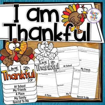 Thanksgiving - I Am Thankful Flip Book for Thanksgiving